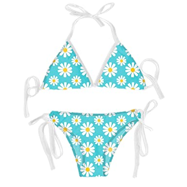 a36a573c174 Zhixiap Womens Sexy Bikini Set 2PCS Blue Chrysanthemum Bikini Sets Swimsuit
