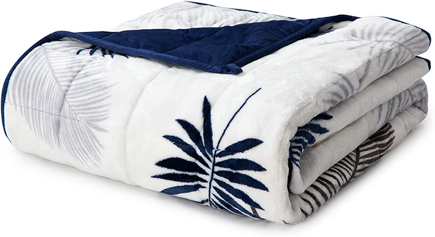 Colorado Springs Mall YnM Flannel Max 57% OFF Weighted Blanket Leaf Fuzzy 80''x87'' Navy 20lbs
