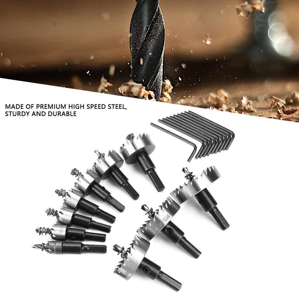 Akozon Juego de Coronas Perforadoras Acero de alta velocidad Sierra de Corona Broca Circular para Madera 10pcs 12-50 mm corte de sierra de agujero de acero vio con n/úcleo broca