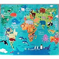 MiCasa Soft and Non-slip Back Animal World Map Blue Area Rug 52x 60