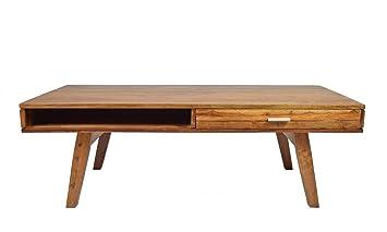 Couchtisch Massivholz Retro Authentic Memory Mid Century Design 2 Schub 2  Fach Sheesham 120 X 60