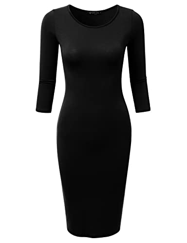 DRESSIS Womne's 3/4 Sleeve Round Neck Knee Length Bodycon Dress S-3XL (15 Colors)