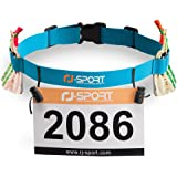 Triathlon Startnummernband Laufgurt mit Nummernhalter & 6 Gel-Halter für Joggen Radfahren Marathons