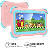 Kids Tablet, 7 Android Kids Tablet Kids Edition Tablet Childrens Tablet with WiFi Camera 1GB + 16GB Parental Control Pink Pink