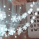 Christmas Lights, Snowflake String Lights 19.6 ft 40 LED Fairy Lights Battery Operated Waterproof for Xmas Garden Patio…