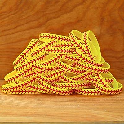 SayitBands 20 Softball Design Wristband Silicone Bracelet