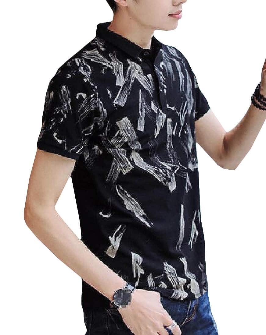 Wofupowga Men Lapel Pullover Print Summer Polos Short Sleeve T-Shirt Top Tee