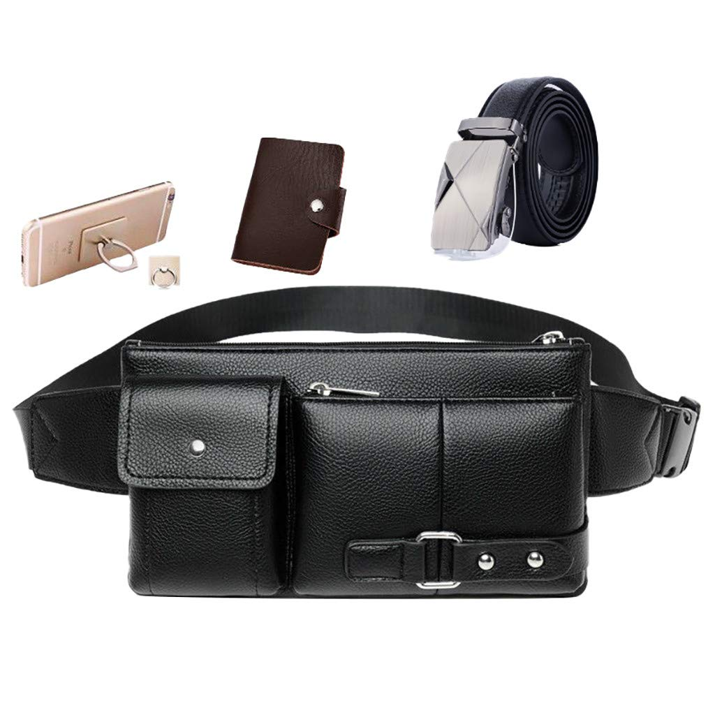 Waist Bag for Man Retro Waist Packs Multi-function Pockets Outdoor Sports Leisure Messenger Chest Bag
