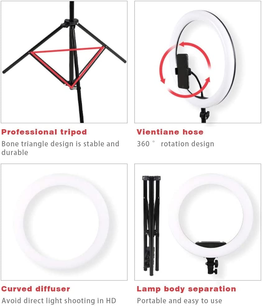 JIAX Ring Light with Tripod Stand,Dimmable Selfie Ring Light LED Camera Ringlight,Dimmable LED Lightning with Remote Compatible with iPhone Android Phone