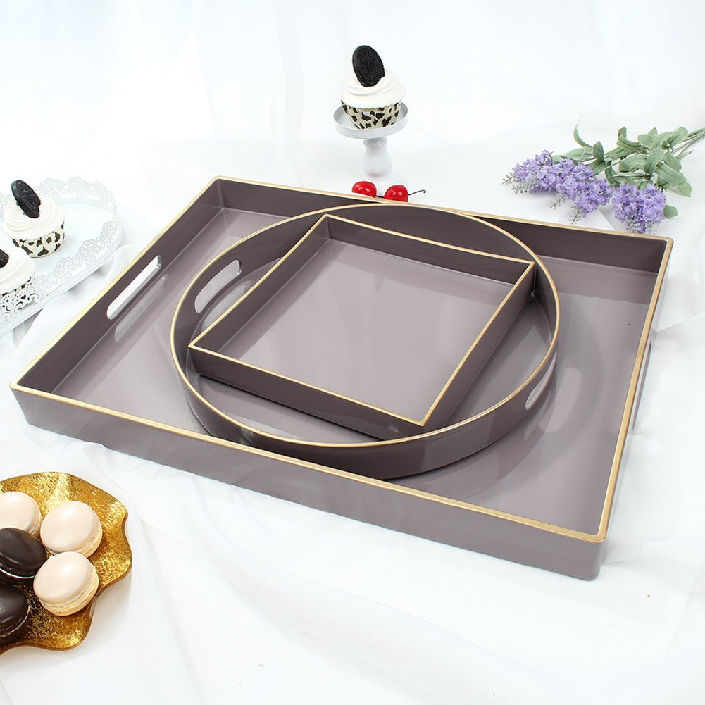 CC Wonderland Pink Serving Tray With Handles, 1 Square, Decorative tray for Ottoman & Coffee table