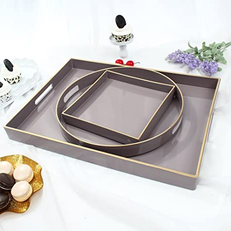 Charmant CC Wonderland Serving Tray With Handles (Set Of 3) Lilac, 1 Rectangle,
