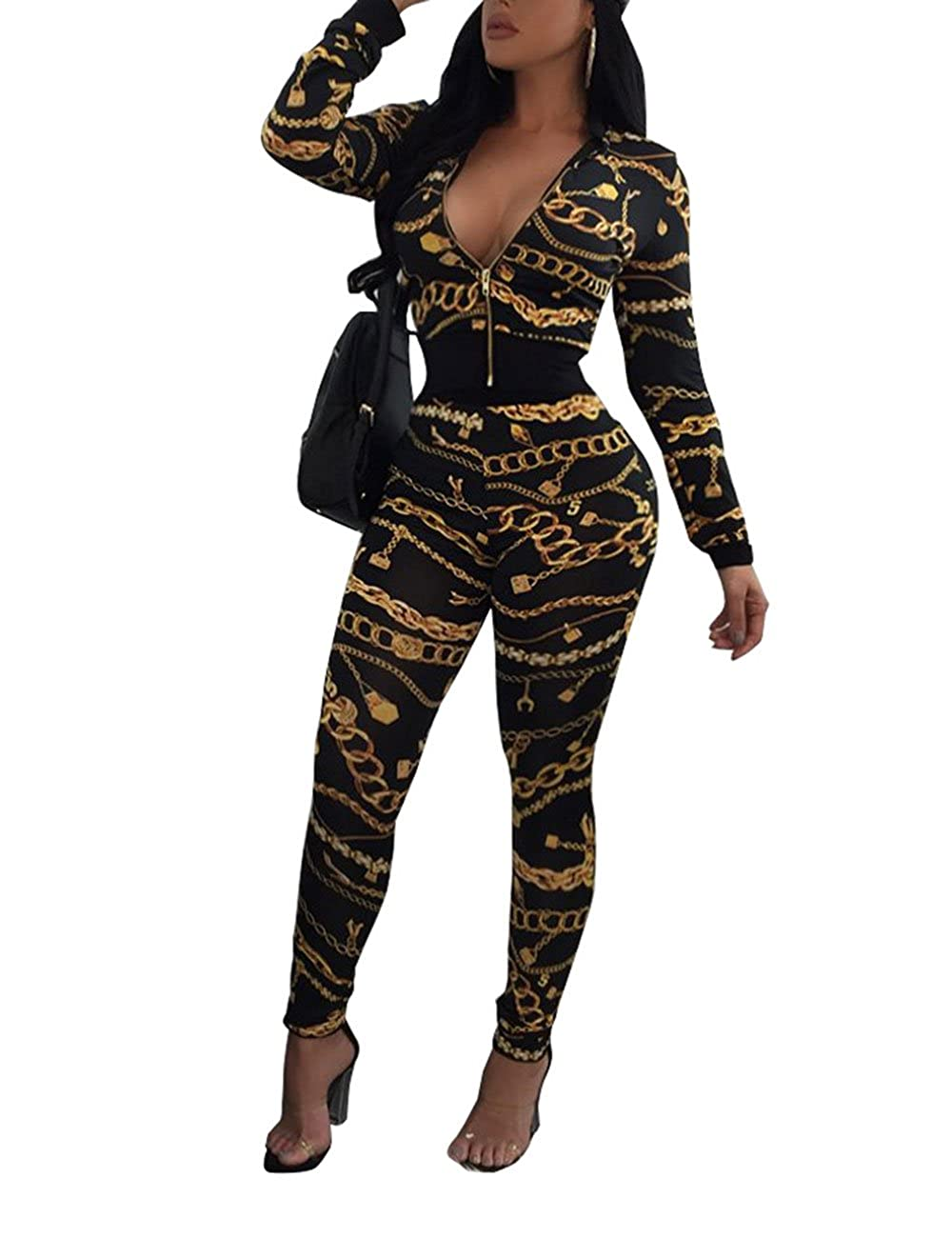 Womens Digital Printing Pullover Hoodies and Sweat Pants Tracksuit
