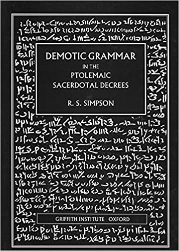 Demotic Grammar in the Ptolemaic Sacerdotal Decrees (Griffith