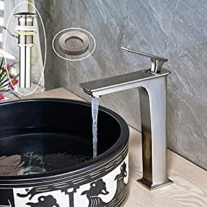 Votamuta Single Lever Bathroom Basin Sink Faucet Tall Body Stainless Steel Lavatory Mixer Tap with Pop Up Drain