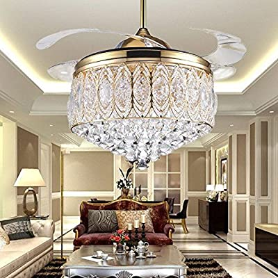 RS Lighting Simple Modern Artistic 42-Inch Crystal Crystal Light Kit Ceiling Fan with Remote Control Retractable Blades Fan Chandelier for Living Room Bedroo Lighting Fixture (Gold)