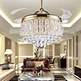 in closed ceiling fan - RS Lighting Simple Modern Artistic 42-Inch Crystal Crystal Light Kit Ceiling Fan with Remote Control Retractable Blades Fan Chandelier for Living Room Bedroo Lighting Fixture (Gold)