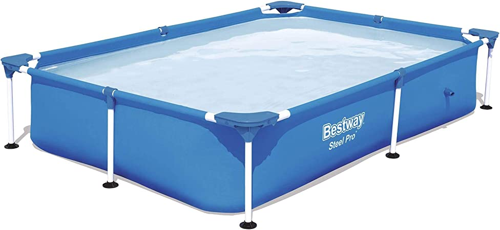 Bestway 56545e Steel Pro 7 25 X 4 9 X 1 4 Ft Outdoor Rectangular Frame Above Ground Family Kids Swimming Pool With Easy Setup Blue Garden Outdoor
