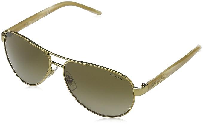 e7d075da7c Amazon.com  Ralph 4004 101-13 Gold and Cream 4004 Aviator Sunglasses ...