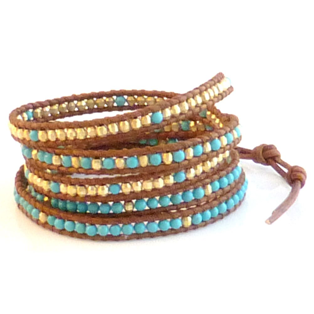 Chan Luu Blue Mix Wrap Bracelet on Brown Leather