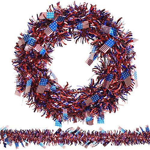 Patriotic Door - N&T NIETING Patriotic Wreath, 15Inch American Flag Tinsel Wreath with 45ft Tinsel Garland for Independence Day Decorations, Front Door Wreath for Forth of July, Memorial Day Wreath (Flag)