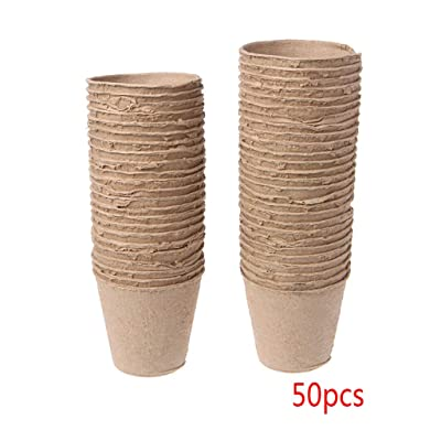 """50Pcs 2.4"""" Paper Pot Plant Starters Seedling Herb Seed Nursery Cup Kit Organic Biodegradable Eco-Friendly Home Cultivation: Grocery & Gourmet Food"""