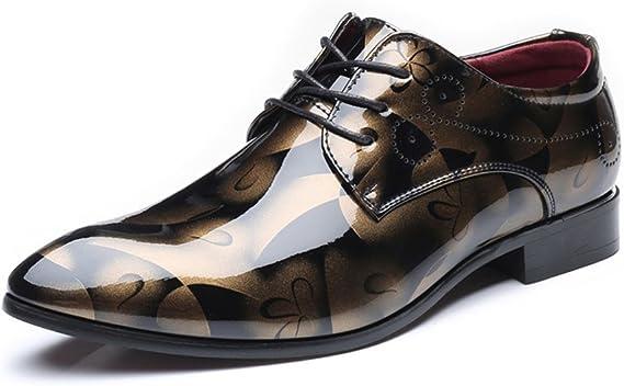 Hilotu Spielraum!Abendschuhe für Männer,Lackleder Schnürschuhe aus Leder Kappe Toe Smoking Schuhe