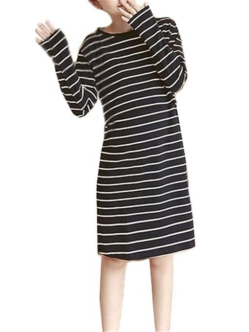 BESTHOO Embarazo Ropa Mujer Vestido Casual Suelta De Verano Manga Larga Elegante Vestido Sencillas A Rayas Ropa Parche Para Lactancia a Capa: Amazon.es: ...