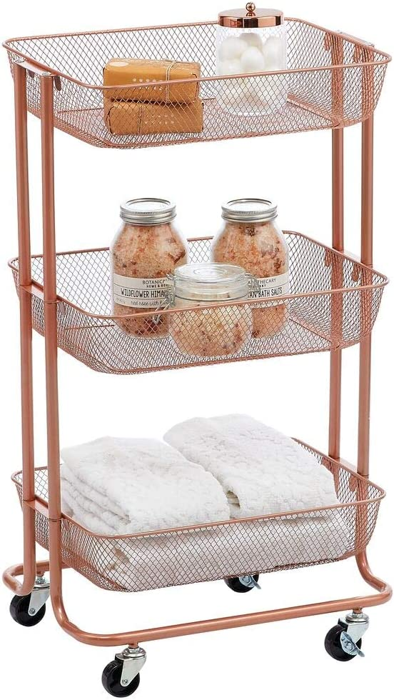 mDesign Metal 3-Tier Rolling Household Storage Cart to use in Bathrooms, Kitchen, Craft Rooms, Laundry Rooms, and Kid's Rooms - Portable, Includes 4 Caster Wheels - Rose Gold