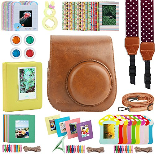 Katia Mini 9 Accessories Bundles Set for Fujifilm Instax Mini 8/8+/9 Instant Film Camera with Camera Case/Album/Selfie Len/Frames/Stickers/Strap/Filter Set10 Light Brown