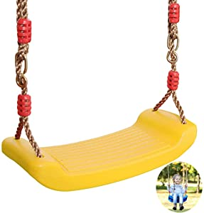 Swing, Plastic Swing Seat, Garden Games with Adjustable Ropes Indoor Outdoor Swing Garden Toy for Children's Swing Frames,Yellow