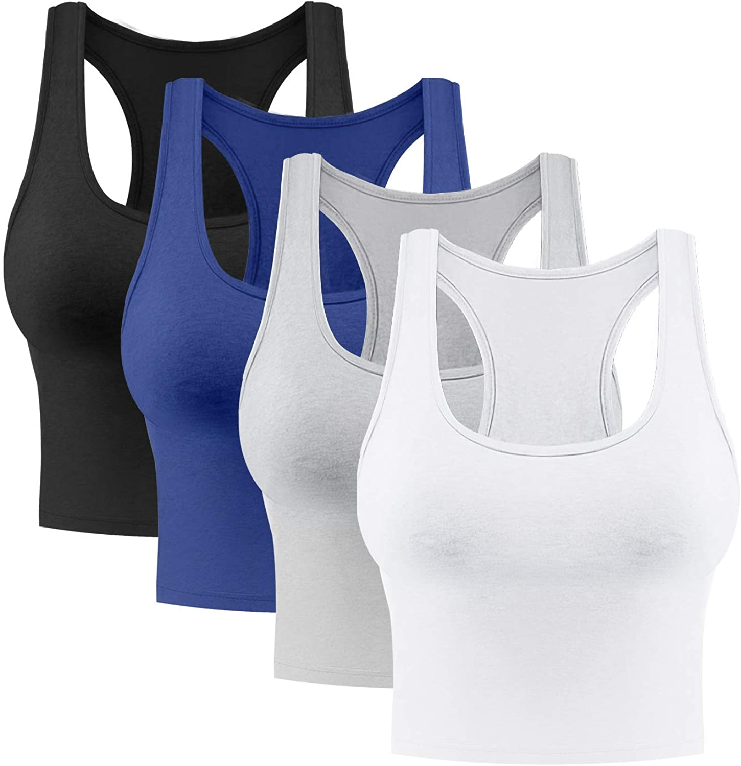 Rugome Cotton Workout Crop Tank Tops for Women Racerback Cropped Tank top Exercise Yoga Shirts 2 Pack