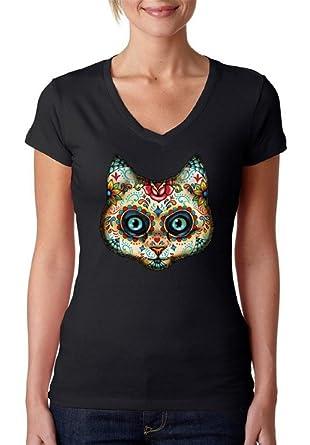 Sugar Skull Cat V-Neck T-shirt Dia De Los Muertos Mexican Shirt - Women