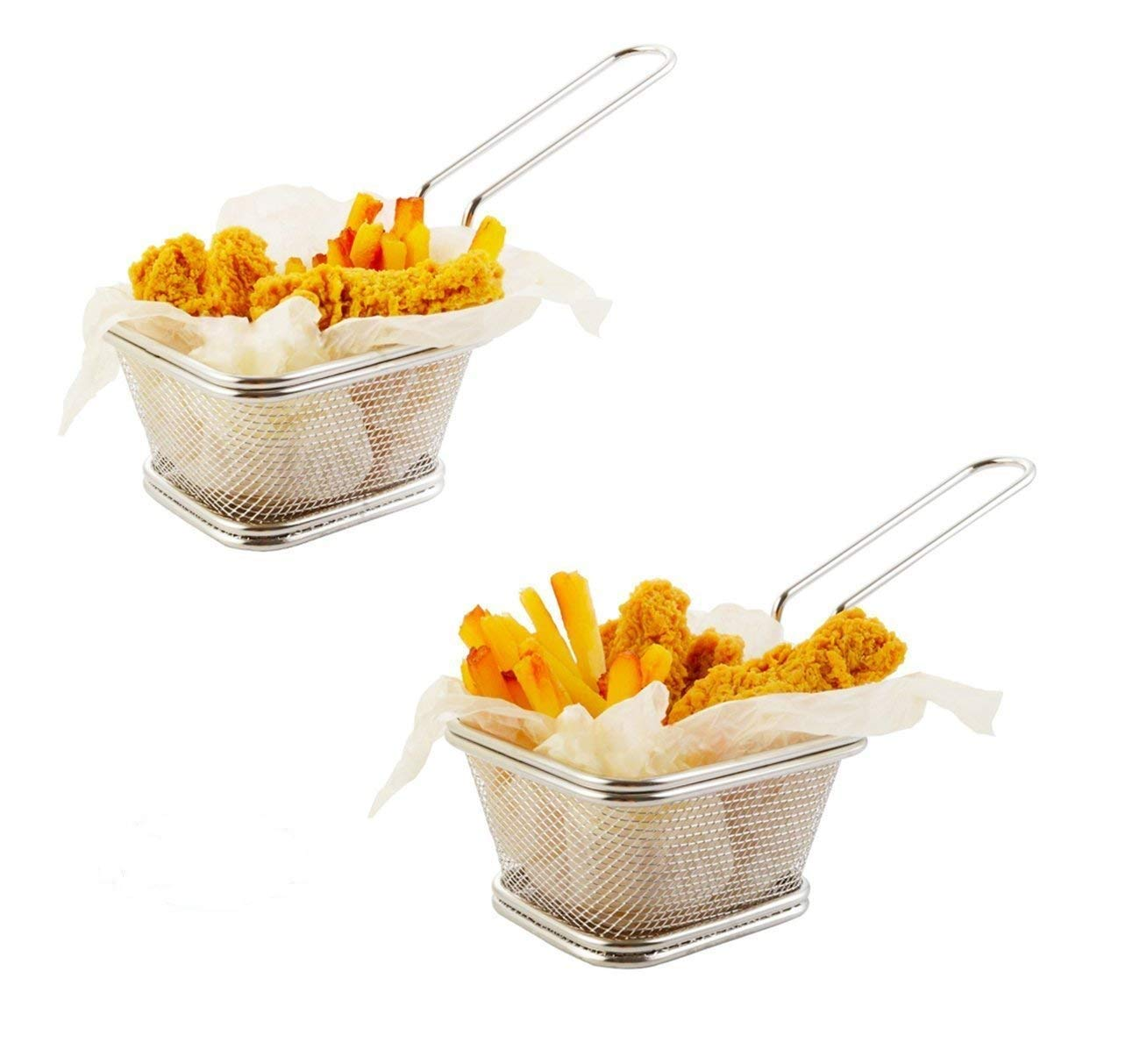 Home Servz Stainless Steel Mini Chips Fry Baskets Fryer Basket,Strainer Serving Food Presentation Cooking Tool,French Fries Basket- 2packs(4 inches)