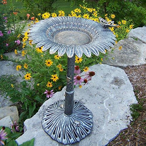 (Oakland Living Corporation Premium Butterfly Sunflower Bird Bath Bronze)