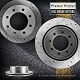 330.2mm Rear Drilled Slotted Brake Rotors For 2001-2010 Chevy Silverado 2500HD 2WD/4WD, 2006-2010 Chevy Silverado 3500HD 2WD/4WD,GMC Sierra 2500HD 3500, One Pair