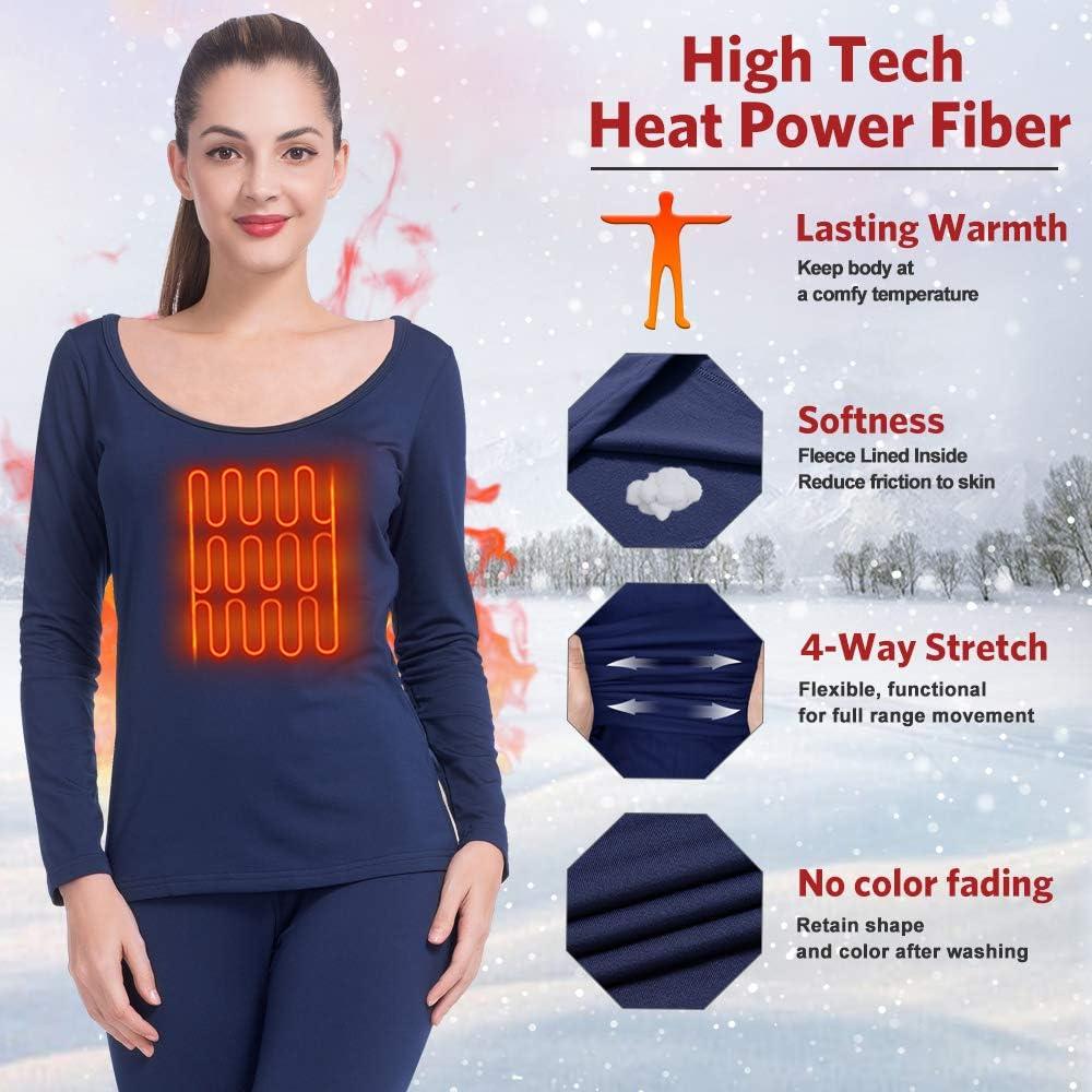 MANCYFIT Womens Thermal Underwear Long Johns Set Fleece Lined Ultra Soft Ballet Neck Base Layer Blue Large
