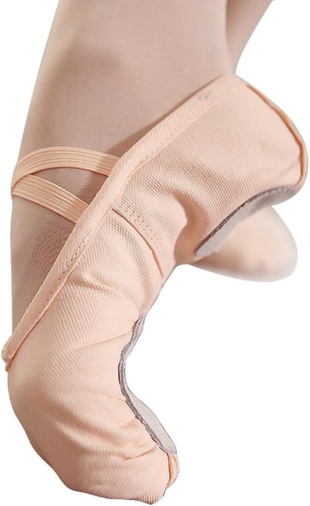 Ballet Slippers for Women Girls Canvas Ballet Flats Ballet Shoes Split Sole Yoga Dance Shoes Nude