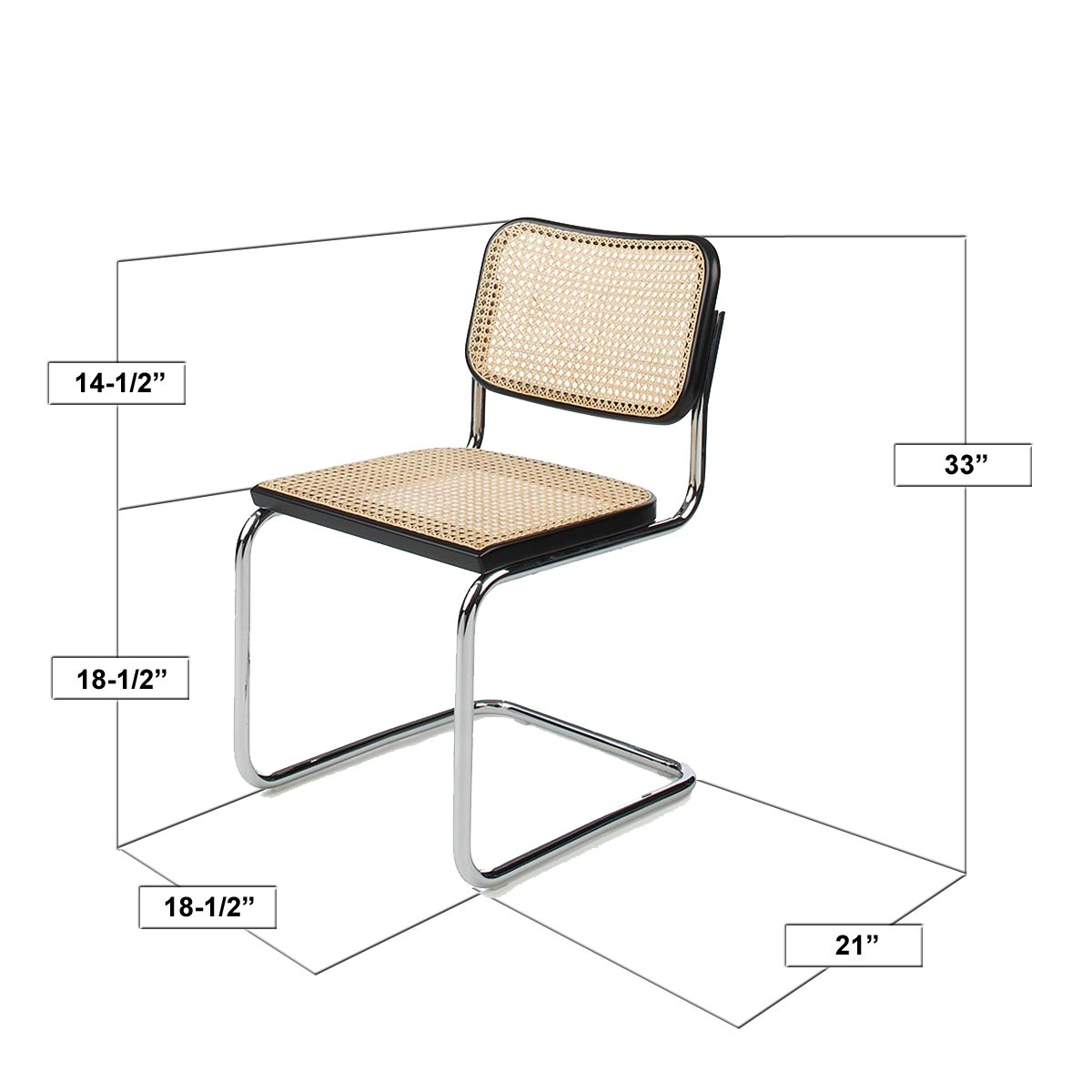 amazoncom marcel breuer cesca cane chrome side chair in natural chairs