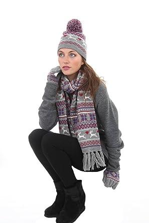 Ladies Fairisle Knit Reindeer Warm Winter Hat Scarf Gloves Set ...