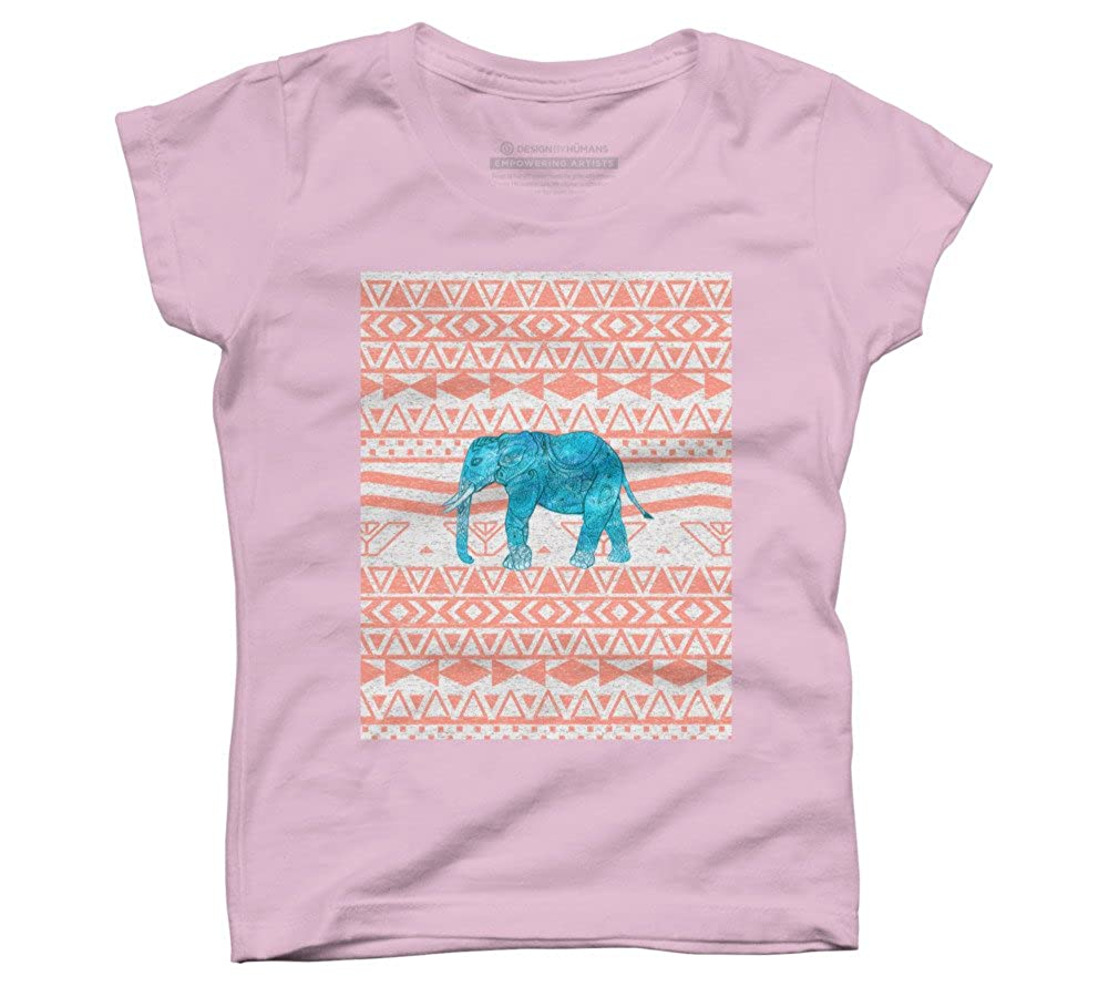 Whimsical Teal Paisley Elephant Pink Aztec Pa Girls Youth Graphic T Shirt