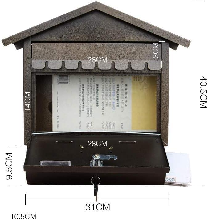 YONG FEI Buzón de correo - Hierro forjado, creativo cepillo antiguo oro estilo europeo de bloqueo caja de buzón de ...