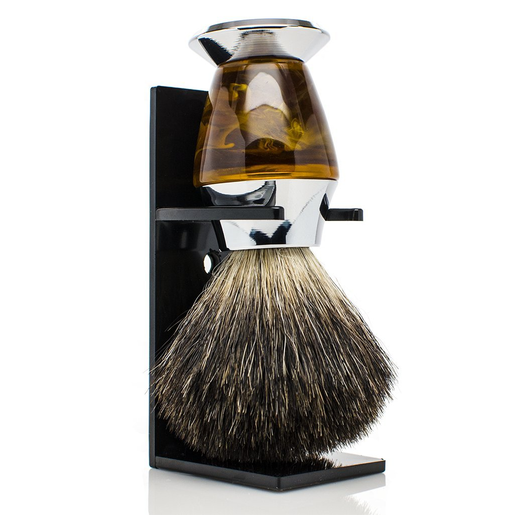 Maison Lambert 100% Black Badger Bristle Faux Horn Handle Shaving Brush - Brush Stand Included - Perfect gift for wet shavers for christmas, birthday or fathers day!