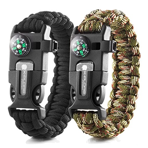 X-Plore Gear Emergency Paracord Bracelets | Set of 2| The Ultimate Tactical Survival Gear| Flint Fire Starter, Whistle, Compass & Scraper | Best Wilderness Survival-Kit - Black(K)/Camo(K)