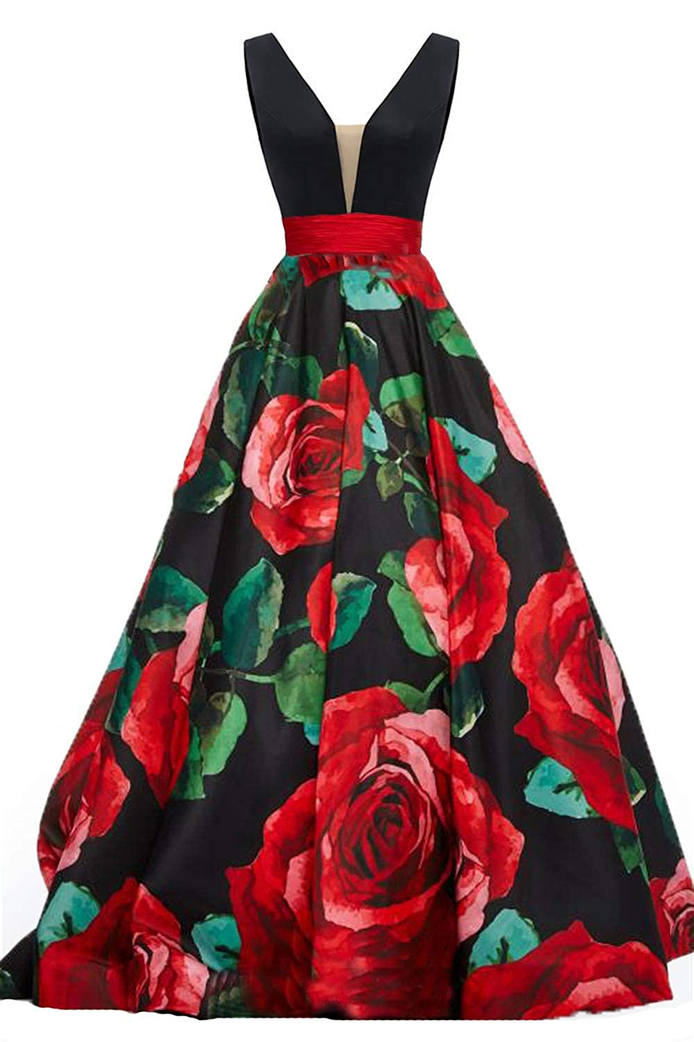 Black4 Dydsz Long Evening Prom Dresses for Women Formal Gown with Pockets Print Floral D295