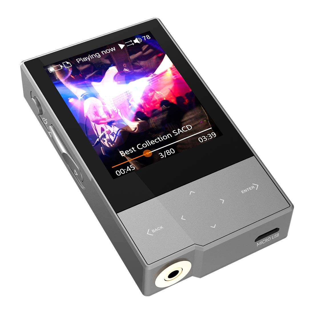 HIDIZS AP60 Ⅱ Bluetooth MP3 Player Digital Audio Player HiFi Lossless Music Player Hi-Res Audio Player with SD Card Slot,Support Up to 256GB (Grey)