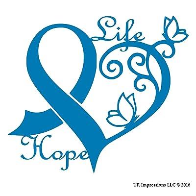 UR Impressions ABlu Cancer Awareness Ribbon Heart Butterfly Vine - Life Hope Decal Vinyl Sticker Graphics Car Truck SUV Van Wall Window Laptop Azure Blue 6.4 X 5.5 Inch URI442-AB: Automotive