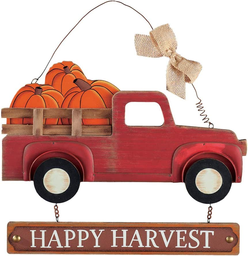 Collections Etc Happy Harvest Vintage Pickup Truck Wall Art Features Truck Filled with Giant Pumpkins and Hook Decorated with Burlap Bow on Back for Easy Hanging