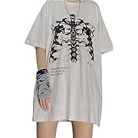 Womens y2k Gothic Punk Skeleton Crop Top E-Girls 90s Goth Vintage Short Sleeve T Shirt Graphic Print Streetwear