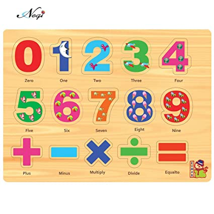Negi Wooden Colourful Learning Educational Puzzle Board for Kids with Knobs, Educational Learning Wooden Board Tray, Size- 28.5cm X 20.5cm, Available in 8 Different Variants (Mathematics)