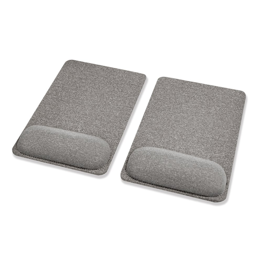 SenseAGE (2PCS/ Set) Pain Relief Comfy Mouse Pad, Wrist Rest, Ergonomic, Comfortable Typing for Home, Travel and Office, with Non-Slide PU Base Mouse Mat, Black - Smoke Gray x 2pcs